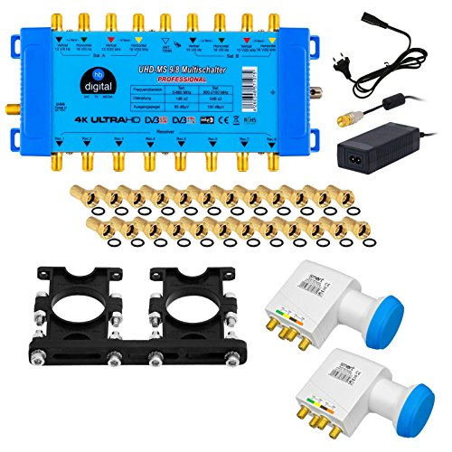 Hochwertiger Quattro LNB + Multischalter pmse 9/8 HB-DIGITAL 2x SAT bis 8 x Teilnehmer / Receiver für Full HDTV 3D 4K UHD mit Netzteil + 35 Vergoldete F-Stecker Gratis dazu