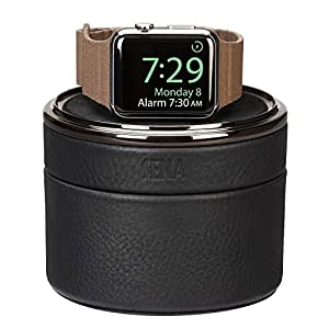 Sena Watch Case, European leather watch stand and travel case for the Apple Watch - Black