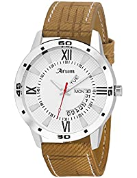 Arum New Collection White Round Day And Date Dial Brown Leather Strap Analog Watch For Men's And Boy's