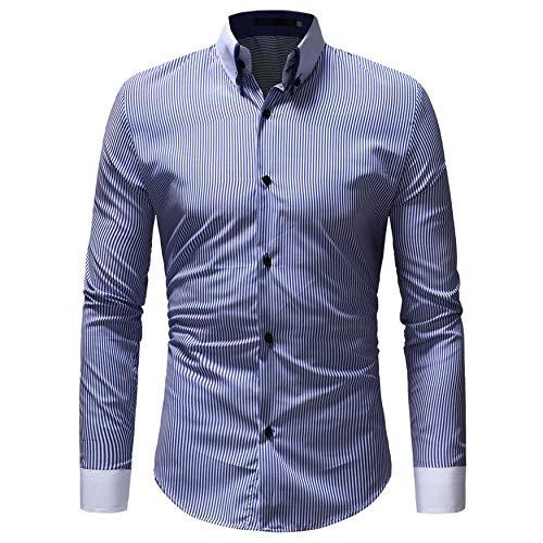 Yaoaoden Modische Langarm-dünne Männer Dress Shirt Streifen Muster Umlegekragen Männer Männliche Kleidung Fit Business Shirts -