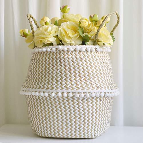 Toasye Wäschekorb,Seegras Weidenkorb Blumentopf Faltkorb Schmutzig Korb Lagerung Dekoration (Mexikanische Blumentöpfe)