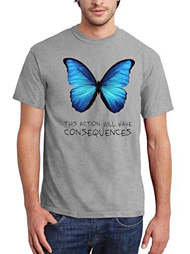 clothinx Herren T-Shirt Strange Butterfly Sports Grey
