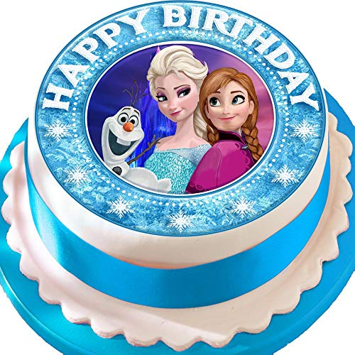 Frozen Anna Elsa Olaf Happy Birthday Bordüre vorgeschnittenen Essbarer Zuckerguss Kuchen Topper Dekoration