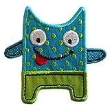 TrickyBoo 2 Aufbügler Freches Monster 7X6cm Bagger 7X8cm Set Aufnäher Flicken Applikationen zum Ausbessern von Kinder Kleidung mit Design Zürich Schweiz für Deutschland und Österreich