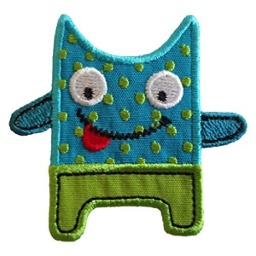 TrickyBoo 2 Aufbügler Freches Monster 7X6cm Katze 4X10cm Set Aufnäher Flicken Applikationen zum...