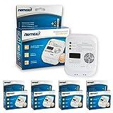 4X Nemaxx Co Melder - Intelligenter Kohlenmonoxid Sensor, batteriebetriebener Warner und Alarm mit Digitalanzeige - Nach Din EN50291