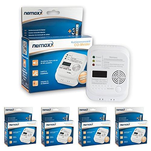 4x Nemaxx Co Melder - intelligenter Kohlenmonoxid Sensor, batteriebetriebener Warner und Alarm mit Digitalanzeige - nach DIN EN50291 (Vier Gas-detektor)