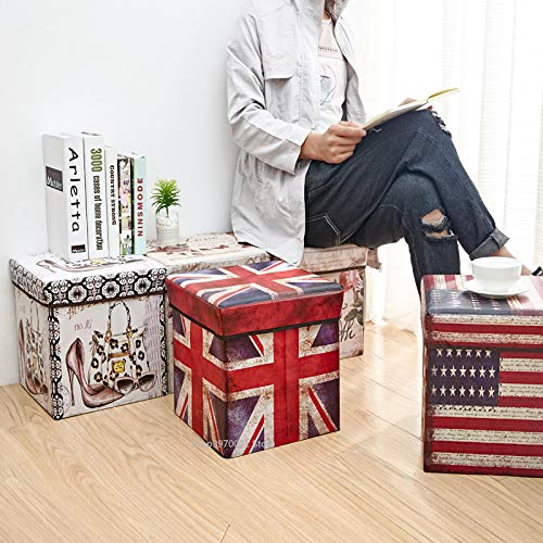 FunBlast Multi-Functional Folding Storage Ottoman Box Organizer Cum Stool with Seat Cushion, Storage Boxes for Toys for Kids (Stars)