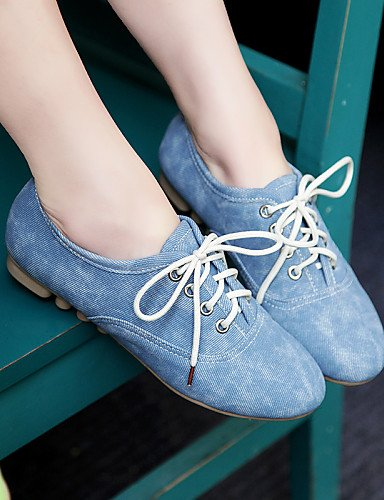 ZQ hug Scarpe Donna - Stringate - Casual - Punta arrotondata - Piatto - Finta pelle - Nero / Blu / Beige , blue-us8 / eu39 / uk6 / cn39 , blue-us8 / eu39 / uk6 / cn39 beige-us6 / eu36 / uk4 / cn36