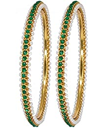 DeAaaStyle Fashion Gold Plated Bangles For Women And Girls With White And Green Stone Size 2.6