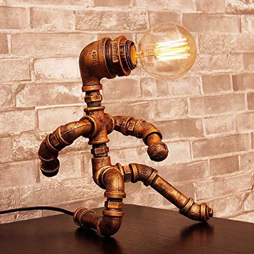 2-GTRHGTYH Lámpara Creativa nórdica Vintage lámpara de Mesa Industrial Lámpara de Mesa Creativa de Tubo de Hierro Forjado Lámpara Art Deco Lámpara de Mesa