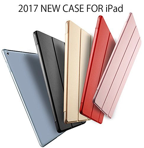 Delhisalesmart DSM-IPAD-GOLD-1N PU Leather Smart Cover Case Magnet with wake-up/sleep option for New iPad 9.7 inch 2017- Golden