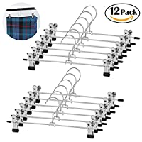 WYCTIN Metal Skirt /Trouser Hangers with 2 Adjustable Clips 12 Pack - 12 Inch