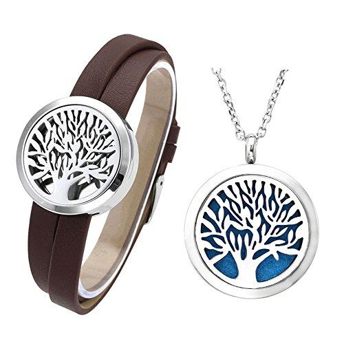 JOVIVI Schmuck Set,316L Edelstahl Lebensbaum Aromatherapie Diffusor Locket Lederarmband + Halskette mit 12 Pads,(braun) -