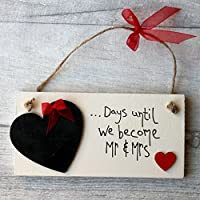 MadeAt94 Wedding Countdown Plaque Gift in Red - Mr and Mrs