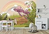 selbstklebende Fototapete - Kinderbild - Märchenwald - Wiese - Vintage - 225x150 cm - Tapete mit Kleber – Wandtapete – Poster – Dekoration – Wandbild – Wandposter – Wand – Fotofolie – Bild – Wandbilder - Wanddeko