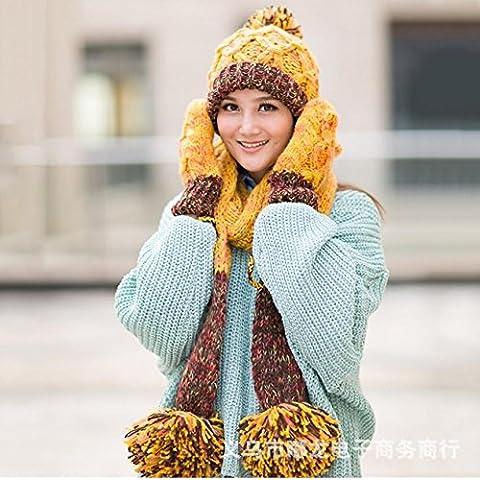 Inverno Autunno ispessimento caldo di lavoro a maglia a tre pezzi Guanto Cappello Sciarpa , yellow