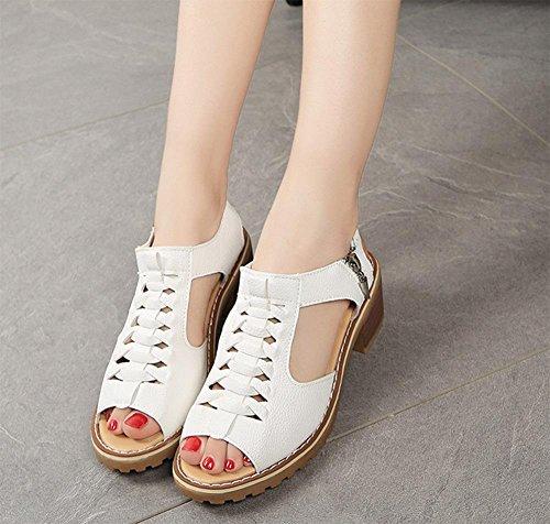 Fräulein Xia Ji Sandalen Frauen Reißverschluss Sandalen Studenten Sandalen und Pantoffeln White