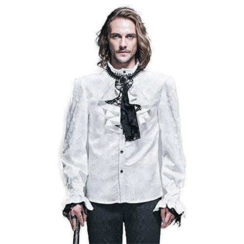 Spitzen Rüschen Hemd (Devil Fashihon Gothic Herren Victorian Retro Rüsche Hemd Steampunk Pastorenhemd Barock Männer Tops Stehkragen Männerhemd (XL, Weiß))