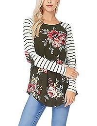 078967462 Mujer Camisetas Manga Larga Cuello Redondo Elegantes Basicas Camisas Tops  Rayas Flores Fiesta Estilo Estampadas Asimetricas