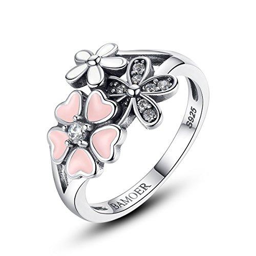 925 Sterling Silber Poetic Hochzeit Ringe BAMOER Rosa Blume Poetic Daisy Kirschblüte Fingerring für (Ringe Blume Modeschmuck Große)