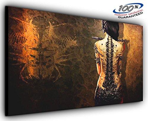 Gothic Girl Panorama Wohnzimmer Schlafzimmer Wand Kunstdruck auf Leinwand fertig gerahmt–Bild...
