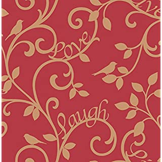 BHF FD40284 Live Love Laugh Scroll Red/Gold Wallpaper, Set of 2 Pieces