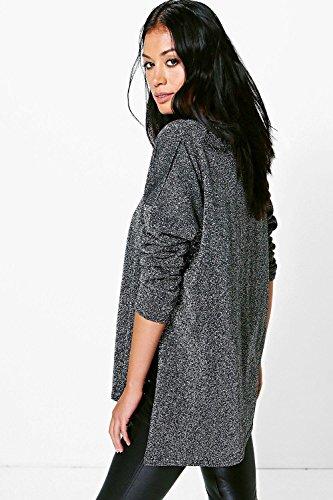 Argent Femme lana top métallique à manches longues croisé devant Argent