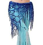LaoZanA Cintura per danza del ventre in chiffon Costume da Donna Hip Sciarpa Gonna con paillettes Taglia unica Blu zaffiro