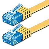 3 m Ethernet-Kabel (flach, CAT6a 500Mhz, Gelb, 1 Stück, Kat. 6a Datenkabel extra-hoch)/M/3-Bis zu 10000 MB/s/Netzwerkkabel (RJ45)/Band/slim/Gigabit/Stecker 8P8C (3?) der vergoldet Aufstandsflächen CAT5/CAT6 kompatibel/Ribbon cable/Ideal für Holz, Parkett, Laminat, Parkett,-Grenze, der Teppich Fußleisten