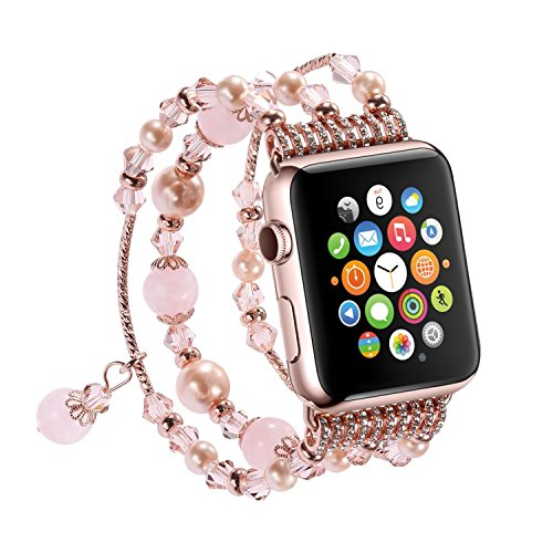 SEANADO Apple Watch Armband, Schmuck Smart iWatch Strap Wechselbar Wrist Band Uhrenarmband Ersatzband Bügel für Mädchen Apple iWatch Series 3, Series 2 and Series 1 (38mm Rosegold)