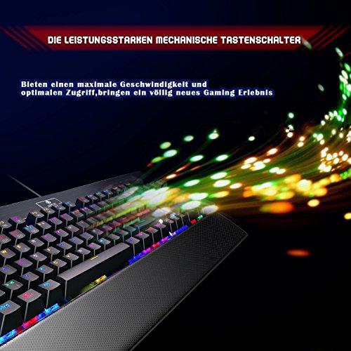 KingTop Mechanisches Gaming Keyboard QWERTZ Tastatur RGB LED Windows MAC Linux Schwarz - 9