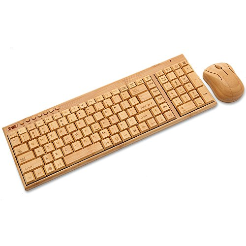 Sengu SG-KG201-N+MG94-N 2.4GHz Full Bamboo Handmade Wireless Keyboard and Mouse Combo(2 Key Pads), [Importado de UK]