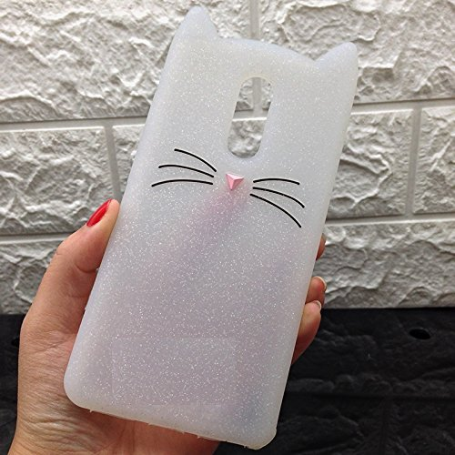 ORAS 3D Lovely Cartoon Cute Hot Pink Bunny Close eye heart smile two ear Back cover for Xiaomi Redmi note 4 (White)