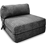 Gilda | Futon Z Single Chair Bed (Jazz Cushion) - Deluxe Jumbo Cord Fold Out Chair With Bounce Back Fibre Blocks Premium Block Work Range (Soft & Snugly)(Grey)