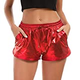 TWIFER Damen Hohe Taille Yoga Sport Shorts 2019 Sommer Kurz Hosen Shiny Hotpants Metallic Leggings (XL, Rot)