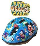 Disney K865507 Mickey Mouse - Casco, Coderas y Rodilleras para Bicicleta, Color Azul y Amarillo