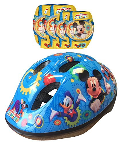 Disney K865507 Mickey Mouse - Casco, coderas y rodilleras para bicicleta, color azul y amarillo