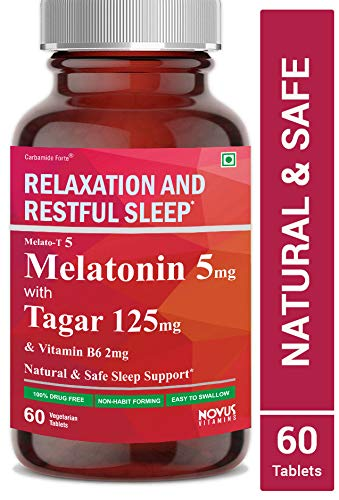 Carbamide Forte Melatonin 5mg with Tagara 125mg Sleeping Aid Pills for Deep Sleep | Non Habit Forming Sleep Supplement - 60 Veg Tablets