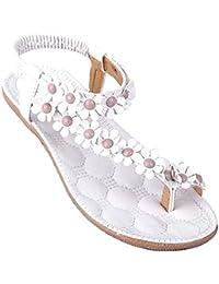 Minetom Mujer Verano Sandalias Dulce Estilo Floral Abalorios Sandalias De Playa Clip Toe Zapatos