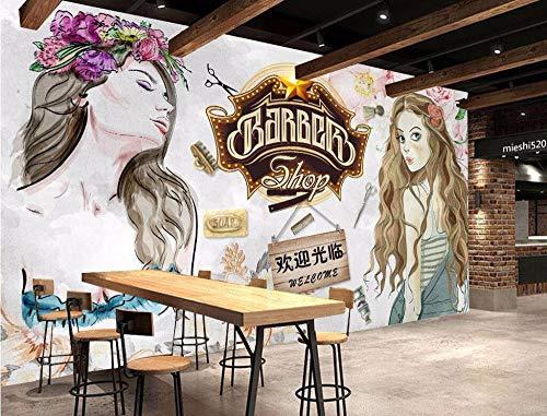 SKTYEE Foto de Papel Tapiz Pintada a Mano, peluquería, herramental, Pared, Sala, Dormitorio, Mural Decorativo, Papel Pintado 3D, 200x140 cm (78.7 por 55.1 pulg.)