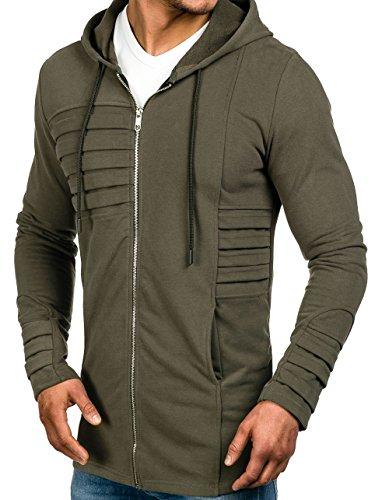 BOLF – Felpa con cappuccio – Sweatshirt – Zip – Hoodie – Slim – Motivo – Uomo – 1A1 Cachi