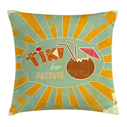 Pillow Cushion Cover by, Vintage Design Exotic Cocktail Aged Look Aloha Fun Party, Decorative Square Accent Pillow Case, 20 X 20 inches, Orange Almond Green Brown ()