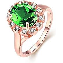YAYA Alta Qualità Di 5 Anni, In Totale Libertà Antiallergico Moda Gioielli K Placcata D'Oro (Verde Diamante Solitario Anello)