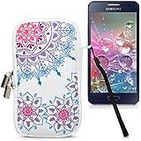"""kwmobile Funda de neopreno para móvil para smartphones M - 5,5"""" - Funda para smartphone carcasa protectora con Diseño Anillo con flores vintage rosa fucsia azul blanco"""
