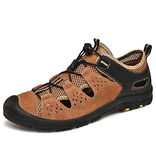 HILOTU Sandali Estivi per Uomo Scarpe da Trekking per Acqua Pantofola da Arrampicata in Montagna in Pelle Scamosciata Sintetica (Color : Marrone, Dimensione : 40 EU)