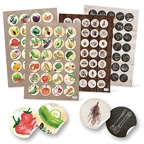 Logbuch-Verlag 118 runde Aufkleber Küche Essen Obst Gemüse Früchte Ernährung Küchenaufkleber Lebensmittel basteln Sticker Kinderaufkleber - Gurke Pflaumen