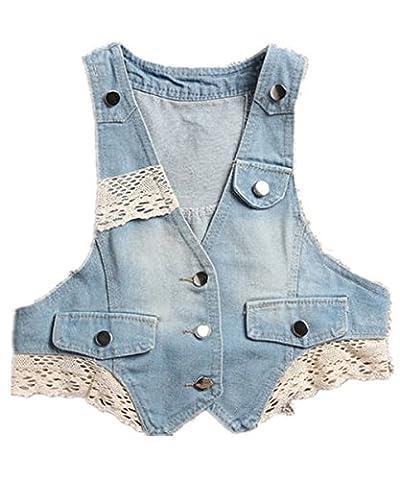 Monissy Femmes Gilet Veste Sans Manches En Jean Avec Poches Décoratives Simple Veste Jacket Jean-Coat Casual Outwear Dentelle