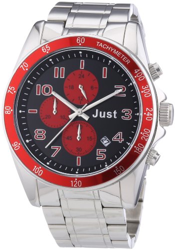 Just Watches 48-S1230-RD - Orologio da polso unisex, acciaio inox, colore: argento