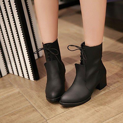 &zhou Stivaletti donna autunno/inverno stivali calda pelle stivali moda di Martin marea avvio tempo libero Black